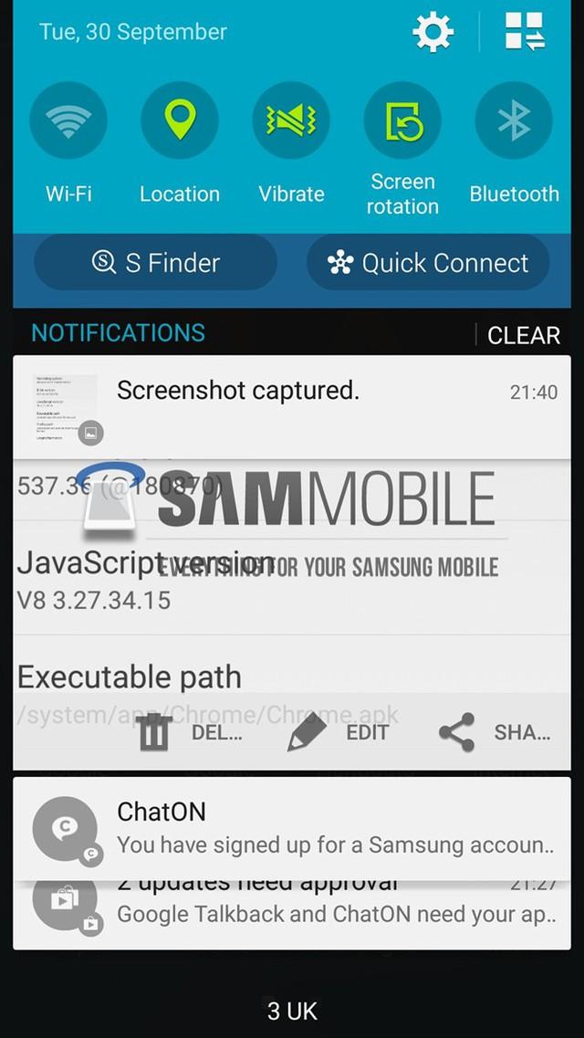 Giao diện màn hình khóa của Android L sau khi được Samsung tùy chỉnh, đáng tiếc số thông báo (notifications) sẽ chỉ có 2 thay vì 4 như bản ROM gốc.