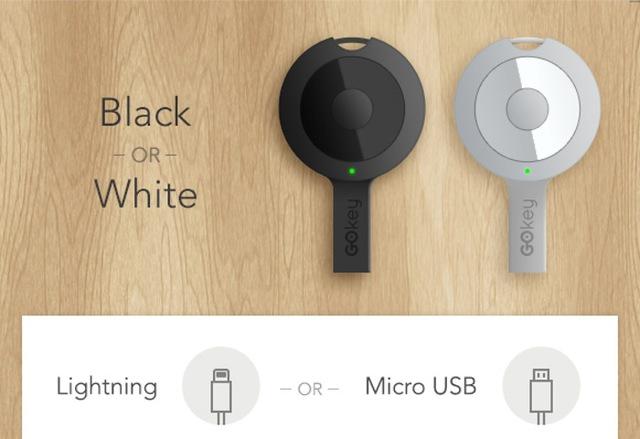 GOkey có 2 màu đen, trắng và có 2 phiên bản kết nối lightning cho iPhone, Micro USB cho các thiết bị Android và Windows Phone
