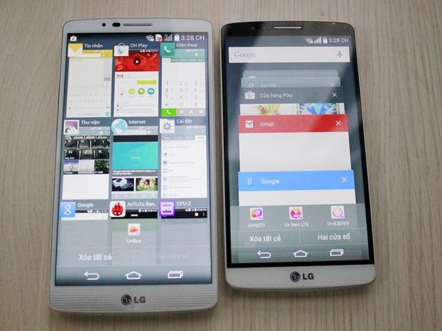 Là một phần trong giao diện Material mà Google đã từng công bố trong Android 5.0, giao diện đa nhiệm của LG G3 chạy Lollipop được thiết kế theo dạng thẻ.