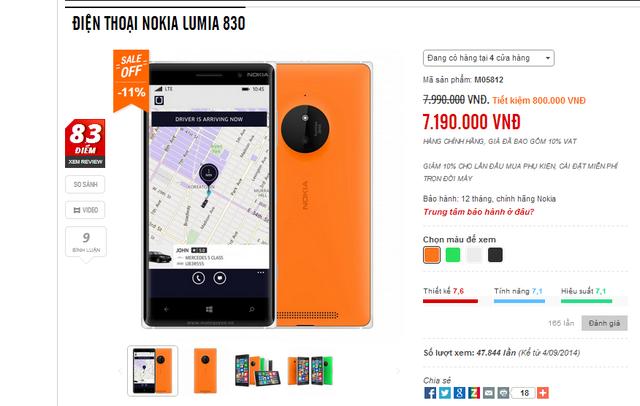 Mức giá mới của Lumia 830 tại cửa hàng Mai Nguyên