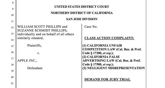 Đơn kiện của người dùng lên tòa án thành phố San Jose.