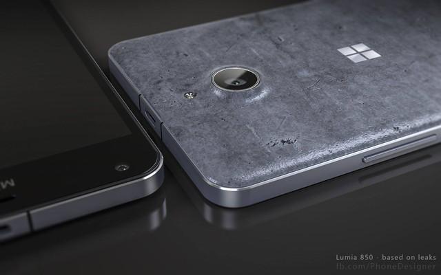 Ảnh dựng smartphone Lumia 850 đi kèm nắp lưng gốm.