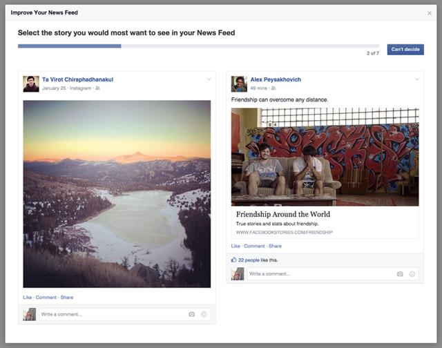 Một loại điều tra người dùng mới được Facebook tung ra để bổ sung cho thuật toán đánh giá mức độ ưu tiên của Post.