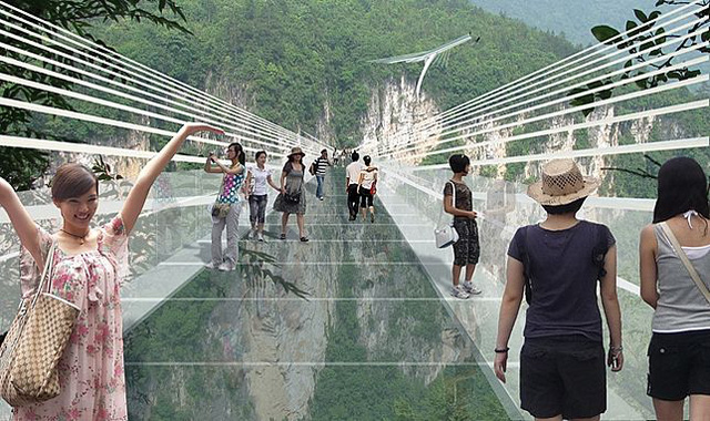 An artists concept of people walking across the glass bridge high above the Zhangjiajie canyon in China