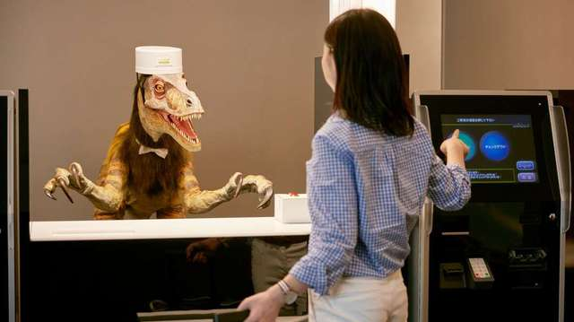 Robots are deployed at the front desk to help guests check-in and out