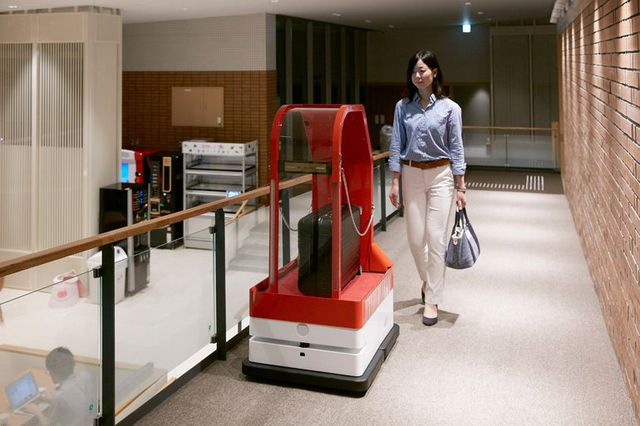 Porter robots are employed to carry luggage to and from rooms for guests
