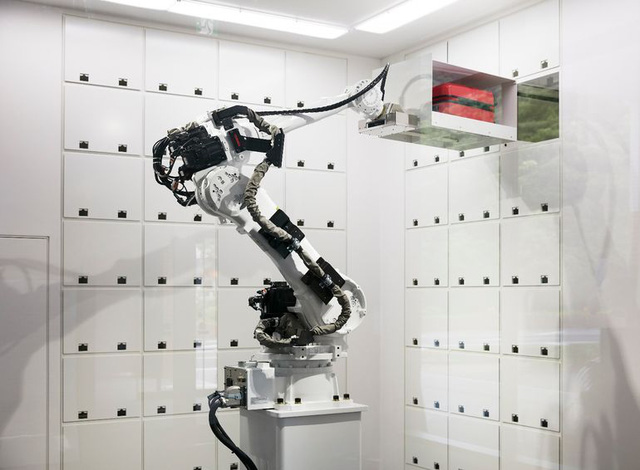 There is a robot employed in the cloak room that puts guests items away into lockers for safe-keeping