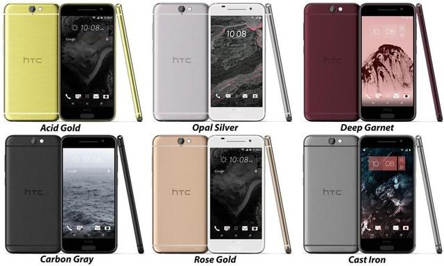 Các phiên bản màu sắc của mẫu HTC One A9 bao gồm: xám, bạc, đen, vàng gold và màu đỏ