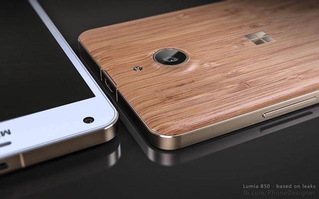 Ảnh dựng smartphone Lumia 850 đi kèm nắp lưng gỗ.