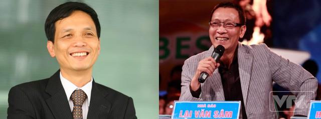 Ông Nguyễn Thành Nam (bên trái) và nhà báo Lại Văn Sâm (bên phải)