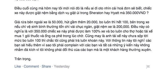 Anh Tuấn đang ước tính khoản phí vệ sinh xe mà anh phải chịu.