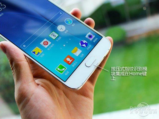 Cận cảnh Galaxy A8, khung kim loại, cảm biến vân tay tích hợp vào nút home