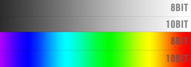 Có thể thấy các màu sắc chuyển đổi ở định dạng 8 bit không mượt như 10 bit.