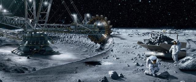 Hình ảnh về một mỏ khai thác ngoài không gian của loài người trong tương lai.