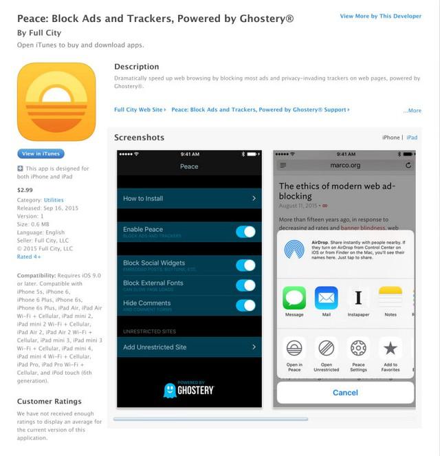 Peace - Ứng dụng chặn quảng cáo hàng đầu trên iOS 9 - hiện đã được gỡ khỏi App Store.