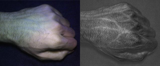 Mạch máu và gân tay khi chụp với máy ảnh thường (trái) và máy ảnh HyperCam (phải).