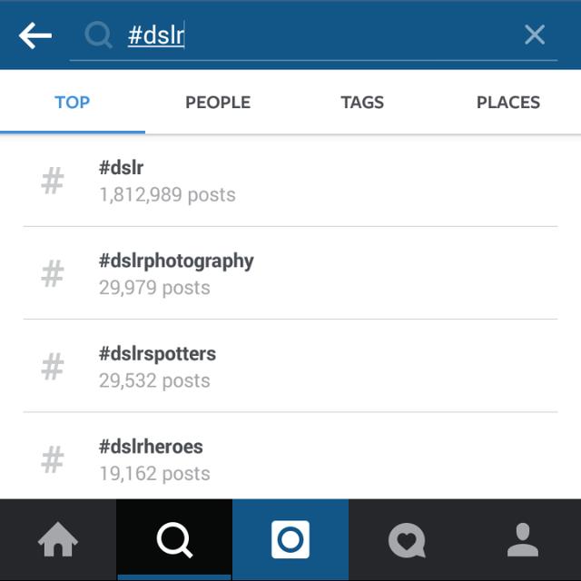 Hashtag cho DSLR chỉ vào khoảng 2 triệu.