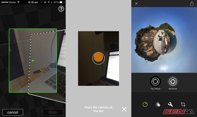 Giao diện ứng dụng Photosynth, Photo Sphere Camera và Living Planet.