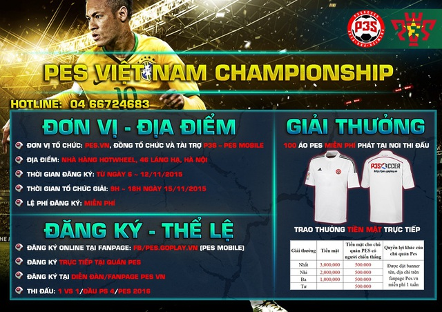 Poster cho biết chi tiết giải đấu lớn đầu tiên của PES 2016 tại Hà Nội