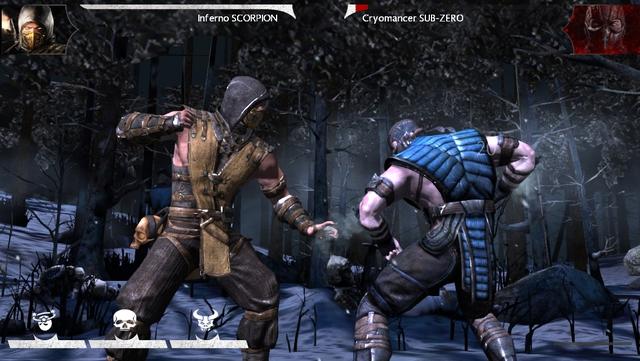 Hai nhân vật quen thuộc là Sub-Zero và Scorpion trong phiên bản Mortal Kombat X trên iOS.