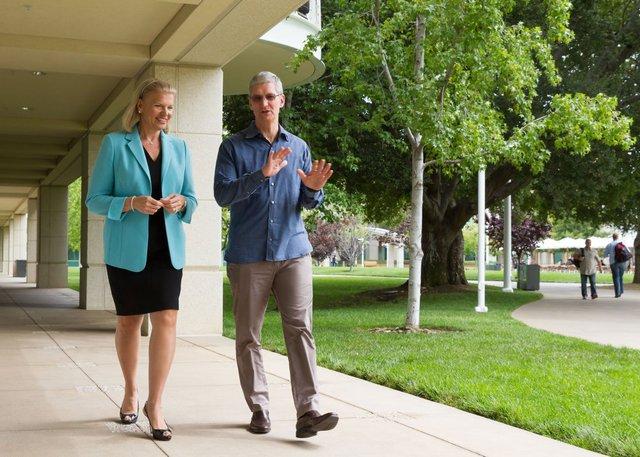 CEO của IBM, bà Virginia Rometty và CEO Apple, Tim Cook