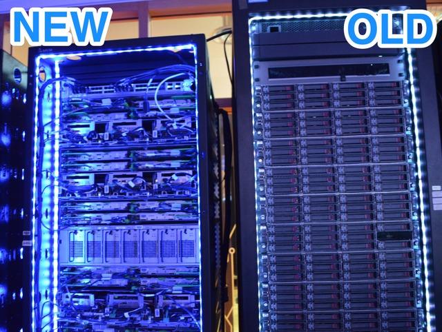 Hệ thống máy chủ cũ (bên phải) và mới (bên trái) có sự khác biệt hoàn toàn. Hệ thống mới được thiết kế lại đẹp mắt và hiện đại hơn hẳn