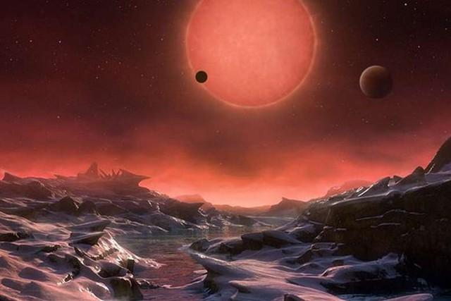 Hình ảnh mô phòng bề mặt của một trong ba hành tinh quay quanh quỹ đạo ngôi sao lùn do Đài quan sát Nam Âu (EOS) cung cấp ngày 2/5. Ảnh: EPA