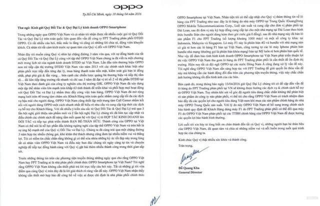 Thư ngỏ được Oppo Việt Nam gửi tới các đối tác và các đại lý kinh doanh smartphone Oppo.
