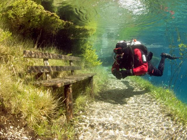 Vào tháng 6, khi mực nước trong hồ dâng cao nhất cũng là lúc thảm hoa cỏ xanh mát xuất hiện xung quanh bờ hồ.