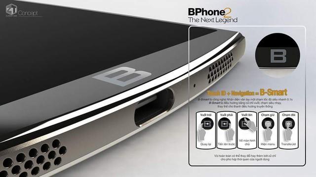 Biểu tượng chữ B vừa là cảm biến vân tay, vừa tích hợp công nghệ B-smart.
