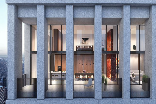 Hình phối cảnh của căn hộ thông tầng cao cấp tại tòa chung cư Bryant.