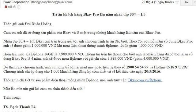 Chương trình giảm giá mua Bphone được người dùng Việt chia sẻ trên cộng đồng mạng Facebook.