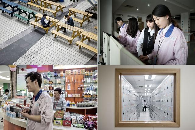 Từ trái sang, theo chiều kim đồng hồ: Công nhân nghỉ ngơi ăn trưa; Các công nhân xem bảng lương tại màn hình cảm ứng; Một công nhân thay đồng phục tại khu để đồ; Một công nhận trong căng tin