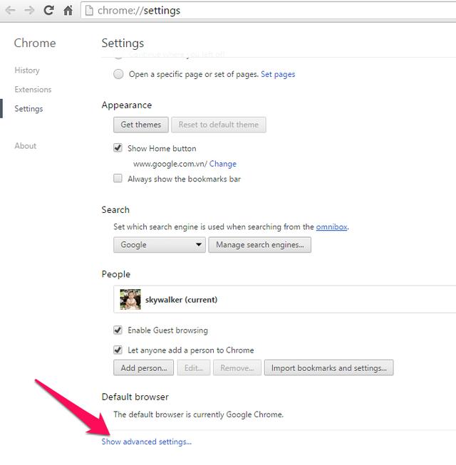Trong cửa sổ tiếp theo, bạn tìm chọn mục Privacy rồi click vào mục Content settings.