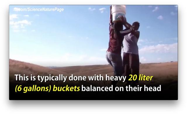 Đây là cách thức mà người dân châu Phi từng dùng để mang nước về. Họ sử dụng những xô với dung tích 20l sau đó đổ đầy nước và đội lên đầu.