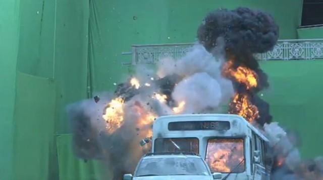 Hầu hết các pha hành động trong phim được thực hiện ngay trên phông nền xanh.