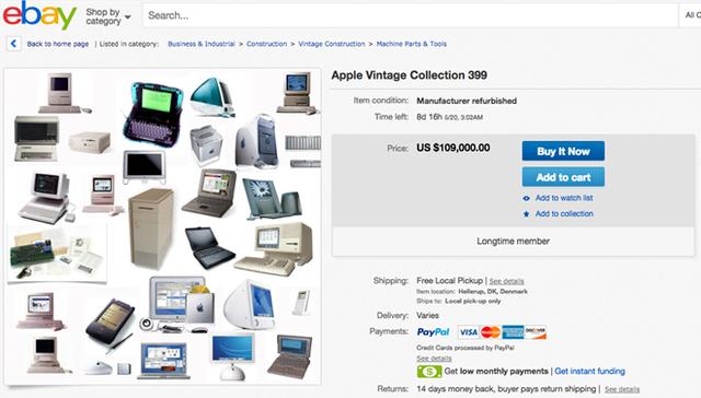 399 chiếc máy tính của Apple bao gồm cả những thiết bị thất bại về mặt doanh số như Apple Newton được 1 người tại Đan Mạch rao bán với giá 109.000 USD.