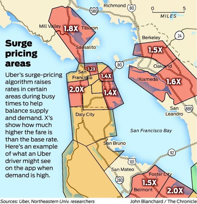 Bản đồ những khu vực tăng giá dịch vụ Uber
