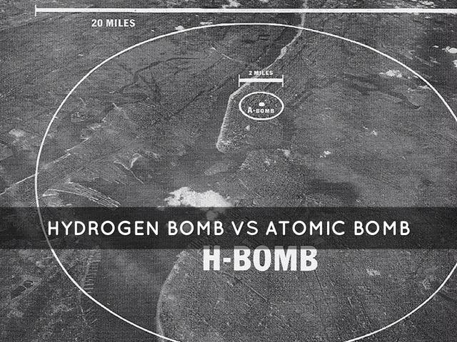 Bán kính hủy diệt của bom nguyên tử và bom khinh khí..