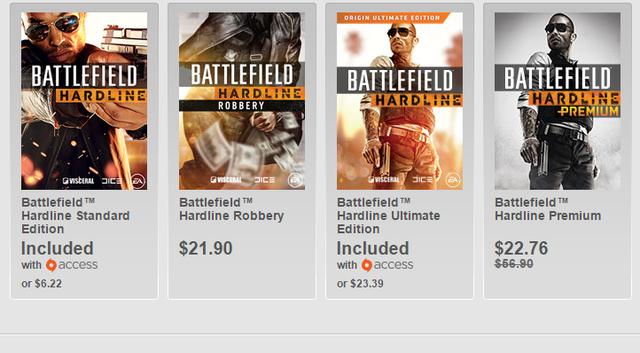 Battlefield: Hardline cùng các DLC được giảm giá trên Origin (giá tính theo đơn vị SGD).