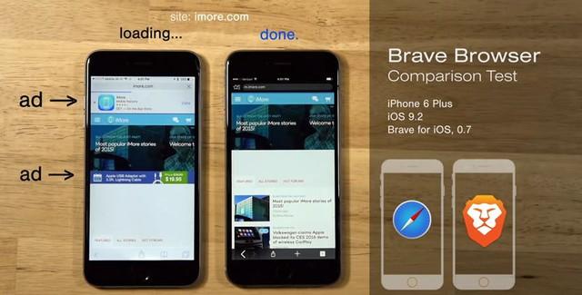 So sánh giữa Brave và Safari trên iPhone 6 Plus.