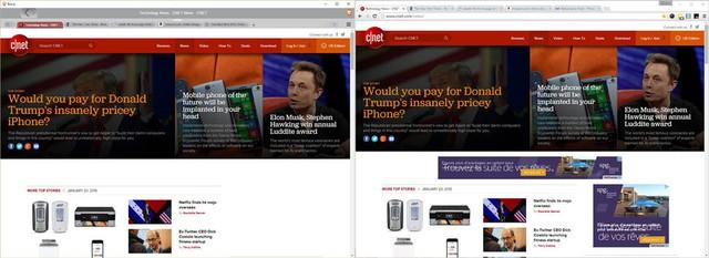 So sánh khả năng hiển thị quảng cáo giữa Brave (bên trái) và Chrome (bên phải).