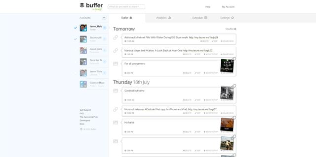 Bảng điều khiển của Buffer