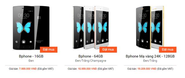 Giá bán chính hãng Bphone hiện tại.