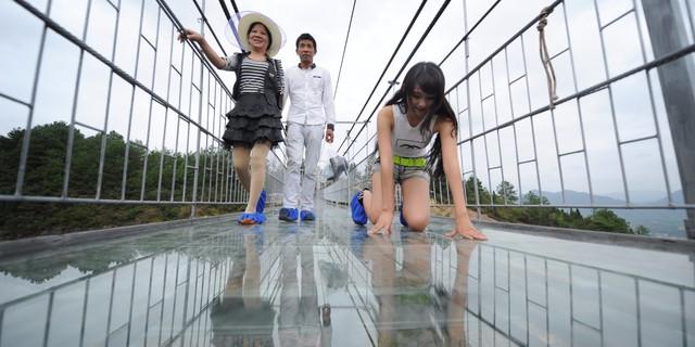 Cây cầu bắc qua hẻm núi ở Trương Gia Giới là cầu kính dài nhất thế giới với độ cao 300m vài dài 430m.