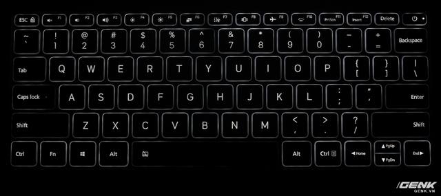 Bàn phím Mi Notebook Air có đèn nền, nhưng còn nhiều hạn chế