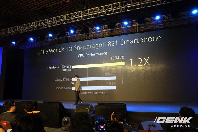 Hiệu năng vi xử lý Snapdragon 821 trên ZenFone 3 Deluxe tốt hơn Galaxy S7 edge và iPhone 6s Plus?