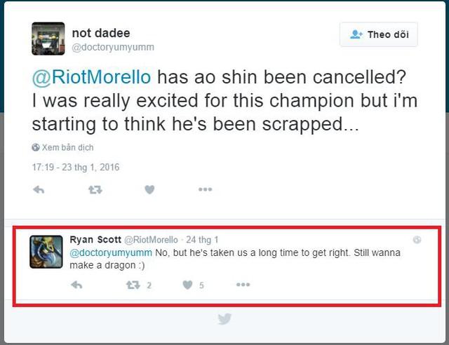 Riot Morello đã xác nhận rằng Ao Shin vẫn đang được thiết kế.