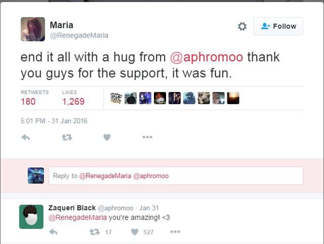 Cô nàng cảm ơn sự động viên của Aphromoo.