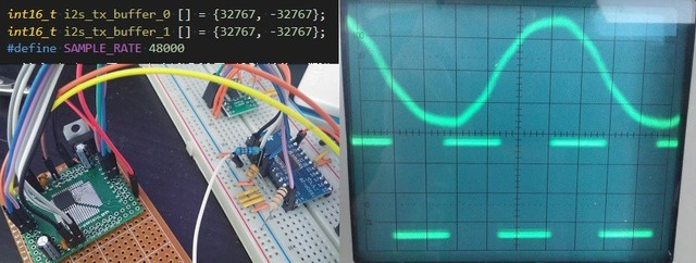 Tín hiệu đầu ra 24kHz (bên trên) từ DAC chất lượng phòng thu này rõ ràng không hề giống với những dạng sóng hình bậc thang của những chiêu marketing thông thường. Sample rate được hiển thị ở phần dưới của oscilloscope.